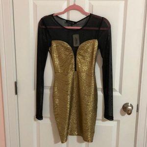 Forever 21 Long-Sleeved Black Mesh Gold Dress